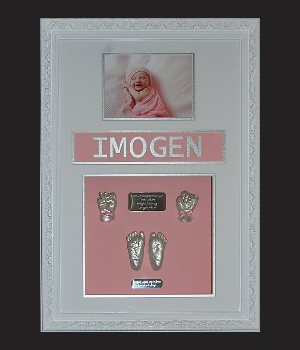 framed hand and feet plaster impression castings by cast a memory australia