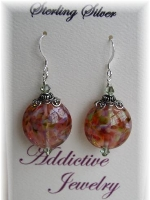 Lampwork earrings with Bali sterling silver and Swarovski Crystal