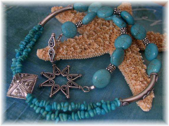 Turquoise and Bali sterling silver necklace