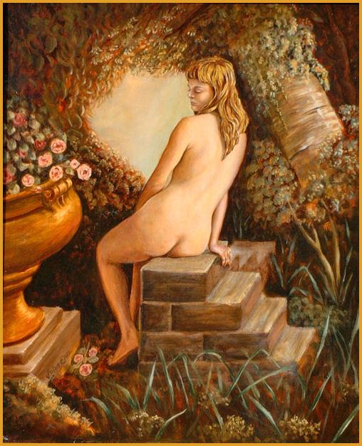 Nude in a Bower, Oil on canvas