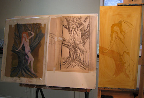 Drawings and easels for