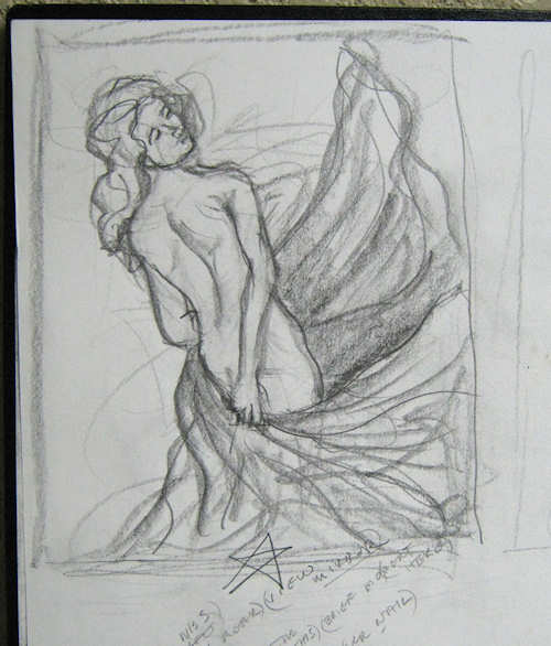 Sketch of woman swirling drape by John Entrekin