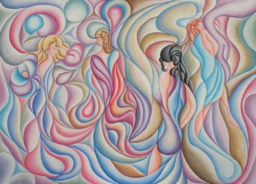 Swirly Girls, Oil on canvas