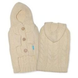 beige Cashmere cable knit hooded dog sweater