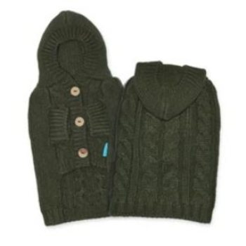 green cashmere cable knit hooded dog sweater
