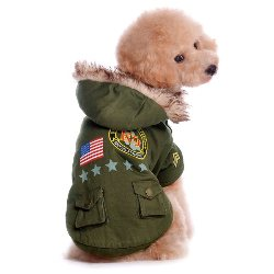 US Army Dog Jacket removable hood, warm fleece lining,  army patches