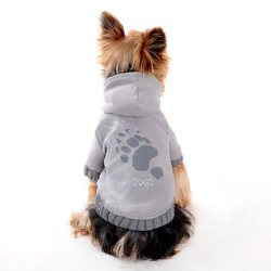 grey dog hoodie with paw claw print on back