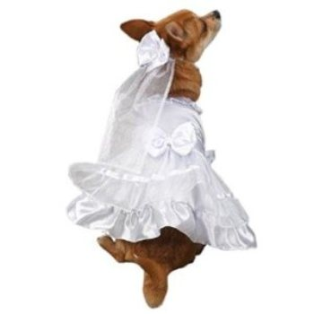 Bride dog dress costume