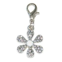 Clear Rhinestone Anchor Dog Collar Charm