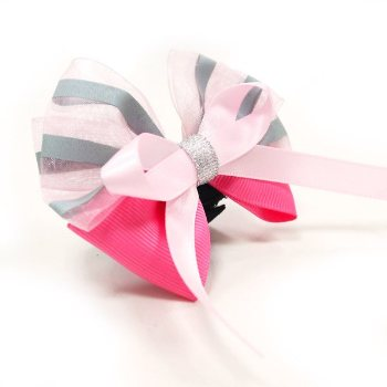 EasyBOW pink girl dog collar bowtie
