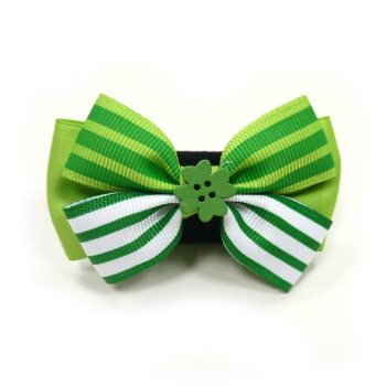 EasyBOW St Patricks green and white dog bowtie