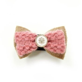 EasyBOW Winter Girl pink collar bowtie