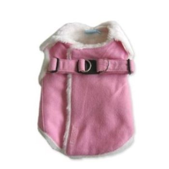 pink and white warm dog harness coat