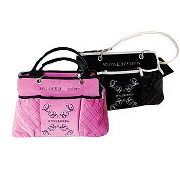little barkers plush pink travel bag