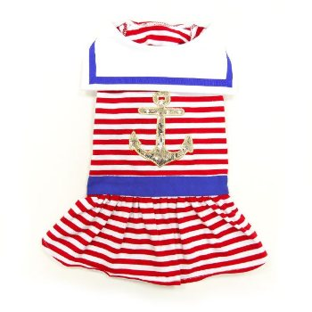 nautical striped sailor girl dog dress