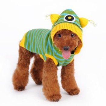 one eye green monster fun dog sweater