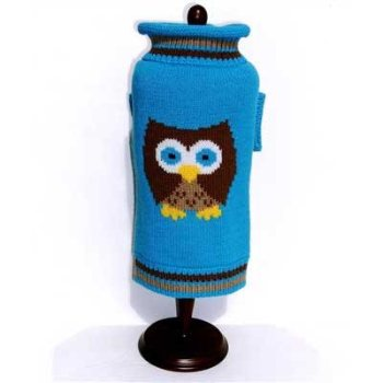 blue owl knitted dog sweater