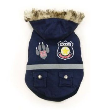 Police Dog Jacket has removable hood, warm fleece lining, custom police patches