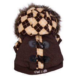 brown argyle thinsulate dog coat