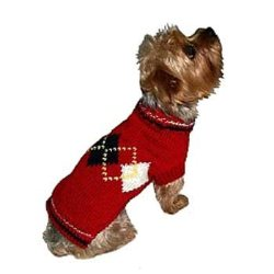 Red and blue Argyle Girly Dog Sweater