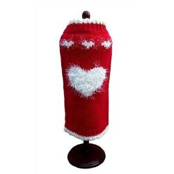 red dog sweater with white fluffy heart
