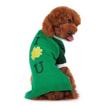 Green Shamrock Turtleneck Dog Sweater