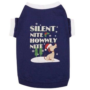 blue chrismas Silent Night Dog Tee