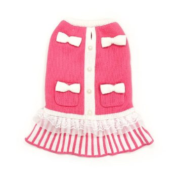 dog dress with bowties, pocket striped skirt ruffle trim and pearl like buttons