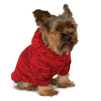 red blue or beige zippered front dog hooded sweater