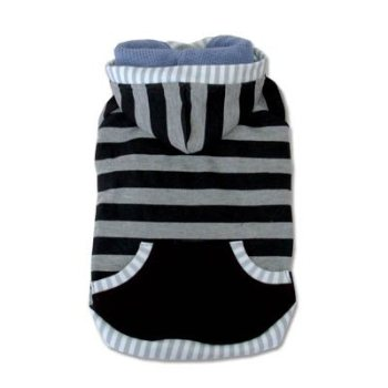 black Multi Stripe dog Hoodie with leash hole