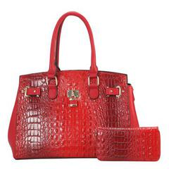 Alligator Red Animal Satchel Faux Vegan Leather $45 with wallet
