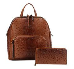 Crocodile vegab leather backpack with wallet $45