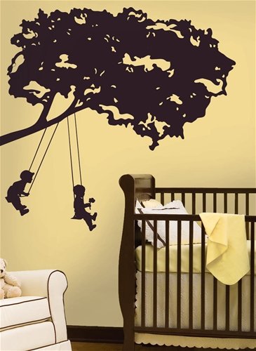 SJ Home Interiors and Wall Decor - Kids on Swings Giant Wall Decal