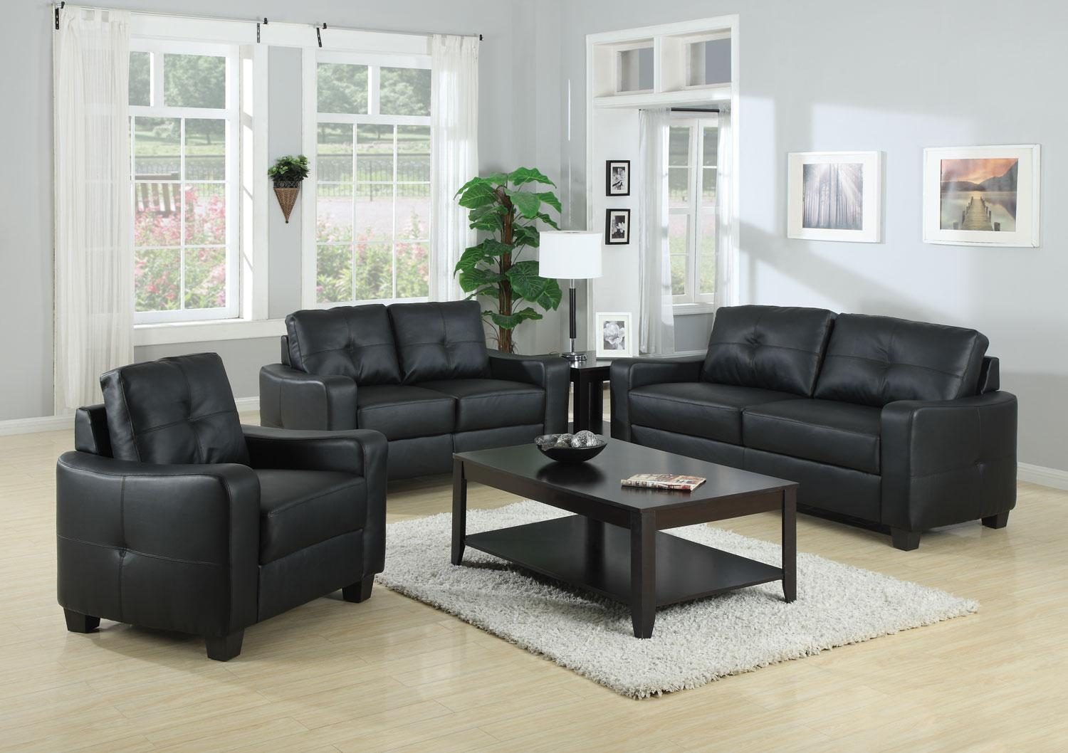 Dasani Black Leather Sofa|Leather Living Room Furniture