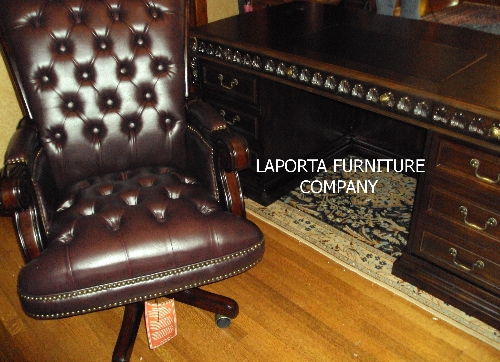 traditional burgundy leather executive chair