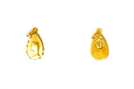 Solid Gold Our Lady of Lourdes Pendant.
