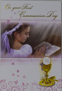 First Communion Card for a Girl.