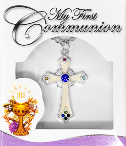 First Communion Cross Pearl Necklace with Stones.
