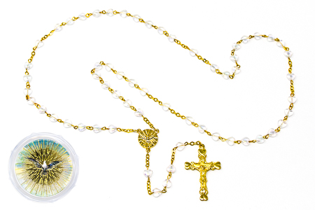 Confirmation Dove Heart Rosary Beads.