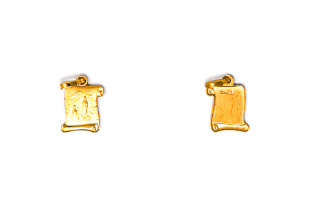 Solid Gold Lourdes Scroll Pendant.