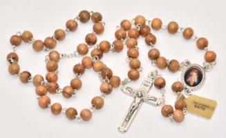 Olive Wood Divine Mercy Rosary Beads.