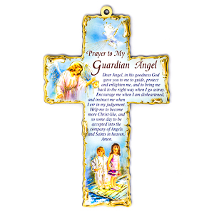 Guardian Angel Wooden Cross.