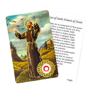 Prayer Card with Relic - Saint Francis.