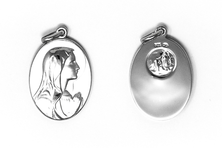 925 Sterling Silver Our Lady of Lourdes Pendant.