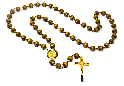 St Benedict Wooden Wall Rosary Beads.