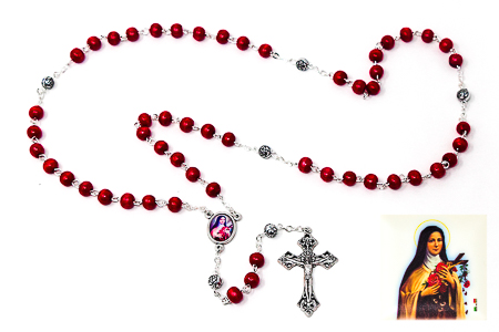 St Theresa�Red Rosary Beads.